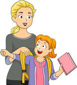 Mother Helping Daughter Put on Schoolbag — Stock Photo