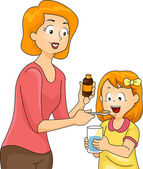 Mom Giving Daughter Vitamins — Stock Photo
