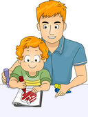 Father Helping Son Color Coloring Book — Stock Photo