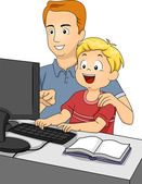 Father Teaching Son to Use Computer — Stock Photo