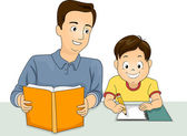 Father and Son Homework — Стоковое фото