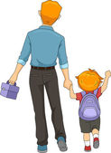 Father and Son Walking to School — Stock Photo