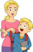 Mother Helping Son Put on Schoolbag — Stock Photo