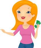Girl Holding Cash — Stock Photo