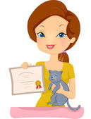 Woman Holding the Certificate of Cat — Stock Photo
