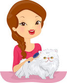 Woman Grooming a Persian Cat — 图库照片
