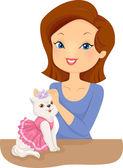 Woman Dressing a Cat in Cute Outfits — Foto de Stock