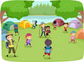 Kids Wandering Around a Camp Site — Stock Photo