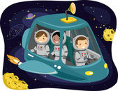 Kids Riding a Space Ship — Stock Photo