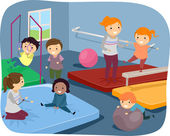 Kids Practicing Gymnastic Routines — Stock Photo