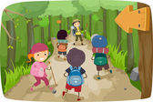 Little Kids on a Hiking Trip — Stock Photo