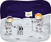 Kids Walking on the Moon — Stock Photo