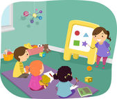 Kids Learning Basic Shapes — Stock Photo