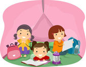Girls in a Pink Camping Tent — Stock Photo