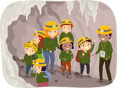 Preschool Kids on a Cave Tour — Stock Photo