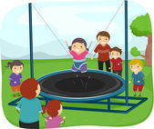 Kids Playing with a Trampoline — Stock Photo