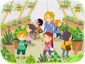 Kids Touring a Greenhouse — Stock Photo