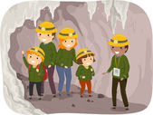 Family on a Cave Tour — Stock Photo