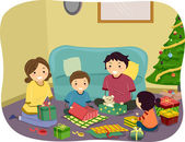 Family Opening Christmas Gifts — Stock Photo