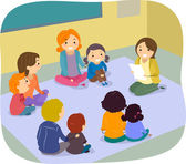 Parents and Children Class Activity — Stock Photo