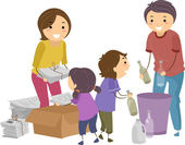 Family Segregating Trash — 图库照片