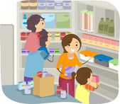 Family Stocking Their Shelves with Goods — Stock Photo