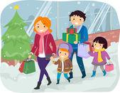 Family Doing Christmas Shopping — Stock Photo