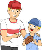 Father and Boy Bonding Over Baseball — Stockfoto