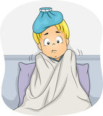 Boy Lying in Bed Due to Fever — 图库照片