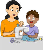 Teacher Teaching Student How to Sew — Stock Photo