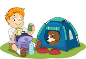 Kid Camping with His Pet Dog — Stock Photo