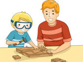 Father and Son Bonding Over a Woodworking — Stockfoto