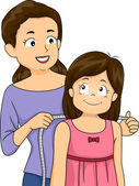 Mother Measuring the Shoulders of Her Daughter — Stock Photo