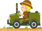 Boy Driving a Camouflage Jeep — Stock Photo