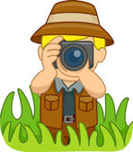 Boy in a Safari Outfit Holding a Camera — Photo
