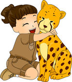 Girl Hugging Cheetah — Stock Photo