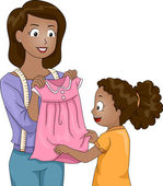 Mother Presenting a Dress to Her Daughter — Stock Photo