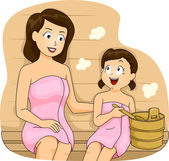 Mother and a Daugher Bonding in a Sauna — Photo