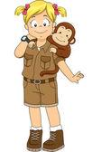 Safari Girl with Monkey — Stock Photo