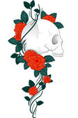 Skull Tattoo Roses — Stock Photo