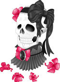 Skull Tattoo Ribbon Victorian — Stock Photo