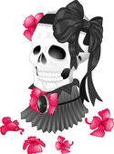 Skull Tattoo Ribbon Victorian — Stock Photo