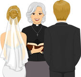Female Priest Officiating a Wedding Ceremony — Stock Photo