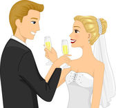 Newlywed Couple Doing a Toast — Stock Photo