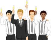 Groomsmen Raising a Toast — Stock Photo