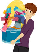 Student Carrying a Pile of Laundry — Stock Photo