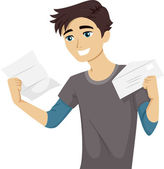Teen Reading His College Acceptance Letter — Stock Photo