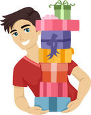Teen Carrying a Pile of Gifts — Stock Photo