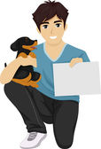 Teen Holding a Cute Puppy — Stock Photo