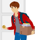 Teen Moving into a New Dorm Room — Stock Photo